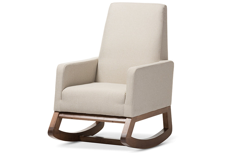 Mid-Century Rocking Chair in Light Beige Fabric
