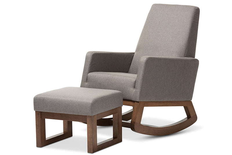 Mid-Century Retro Rocking Chair & Ottoman in Grey Fabric