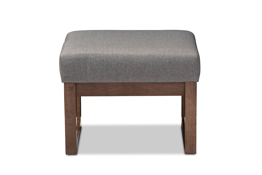 Mid-Century Retro Modern Ottoman in Grey Fabric