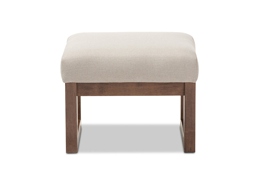 Mid-Century Retro Modern Ottoman in Light Beige Fabric
