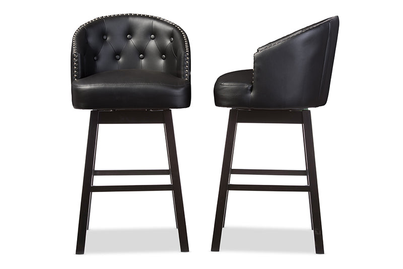 Contemporary 2 Nail Trim Swivel Bar Stools in Black Faux Leather - The Furniture Space.