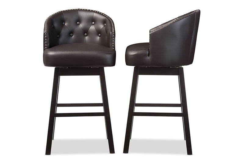 Contemporary 2 Nail Trim Swivel Bar Stools in Brown Faux Leather - The Furniture Space.