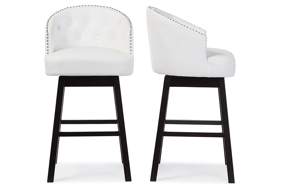Contemporary 2 Nail Trim Swivel Bar Stools in White Faux Leather - The Furniture Space.