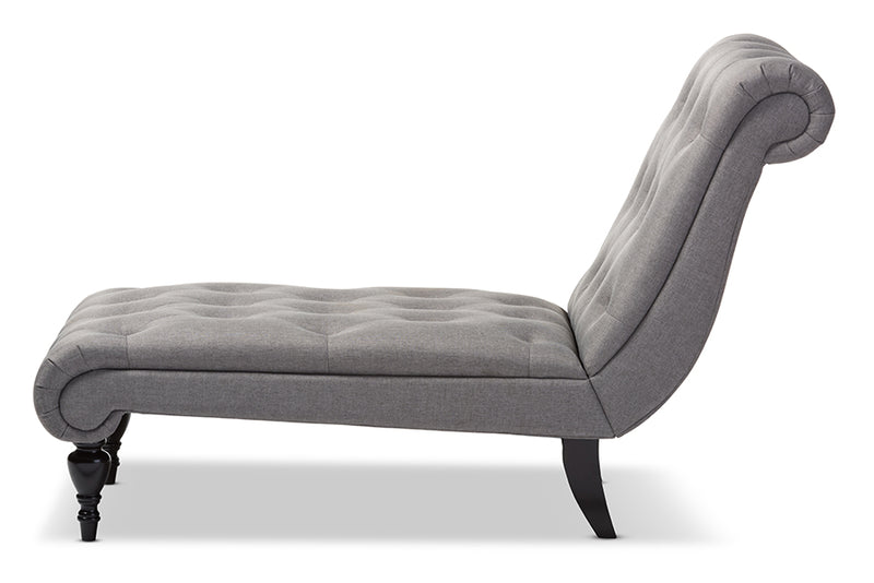 Mid-Century Chaise Lounge Chair in Grey Fabric