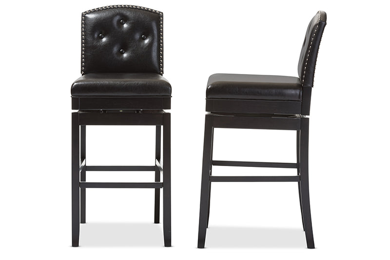 Contemporary 2 Button Tufted Swivel Bar Stools in Dark Brown Faux Leather
