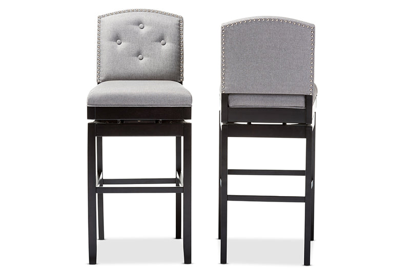 Contemporary 2 Button Tufted Swivel Bar Stools in Grey Fabric