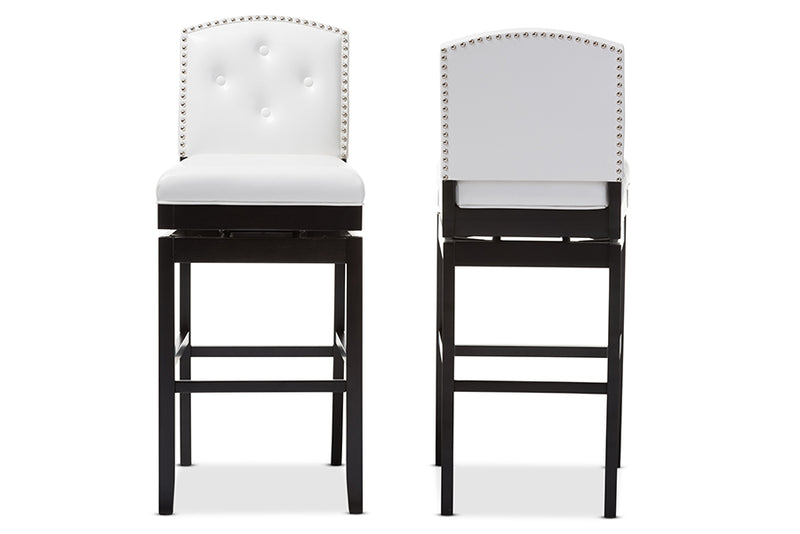 Contemporary 2 Button Tufted Swivel Bar Stools in White Faux Leather
