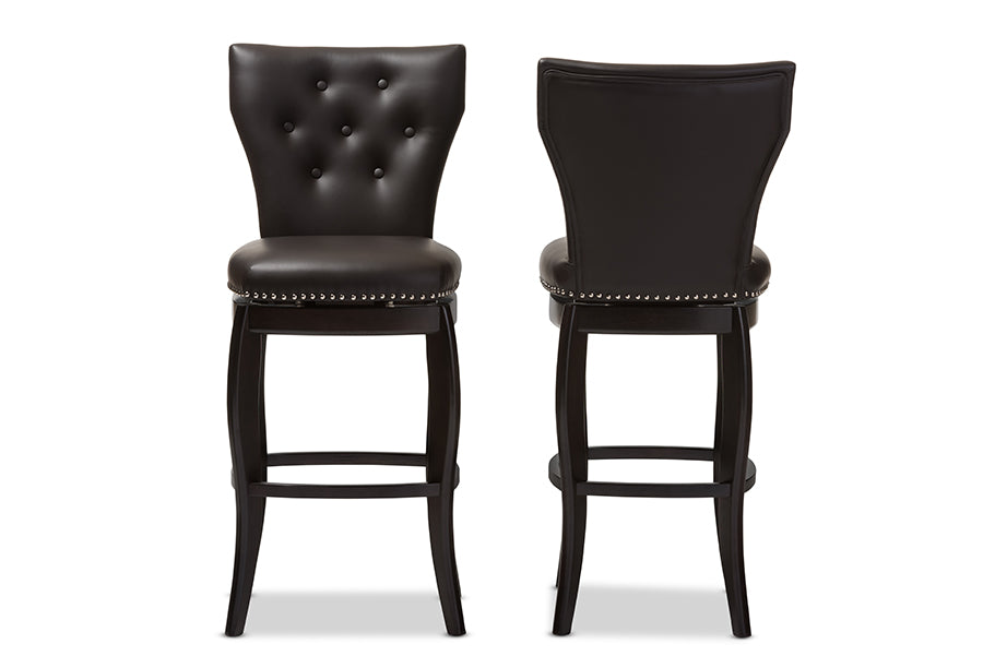 Contemporary 2 Swivel Bar Stools in Dark Brown Faux Leather - The Furniture Space.