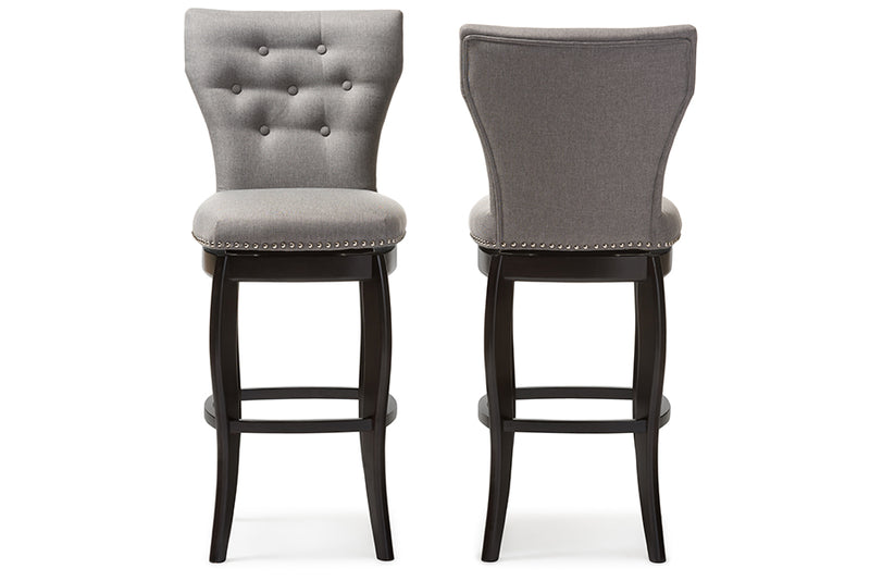 "Contemporary 2 29"" Bar Stools in Grey Fabric - The Furniture Space."