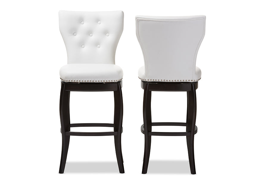 Contemporary 2 Swivel Bar Stools in White Faux Leather - The Furniture Space.