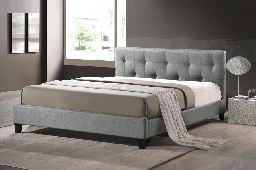 Transitional Full Size Bed in Grey Linen Fabric