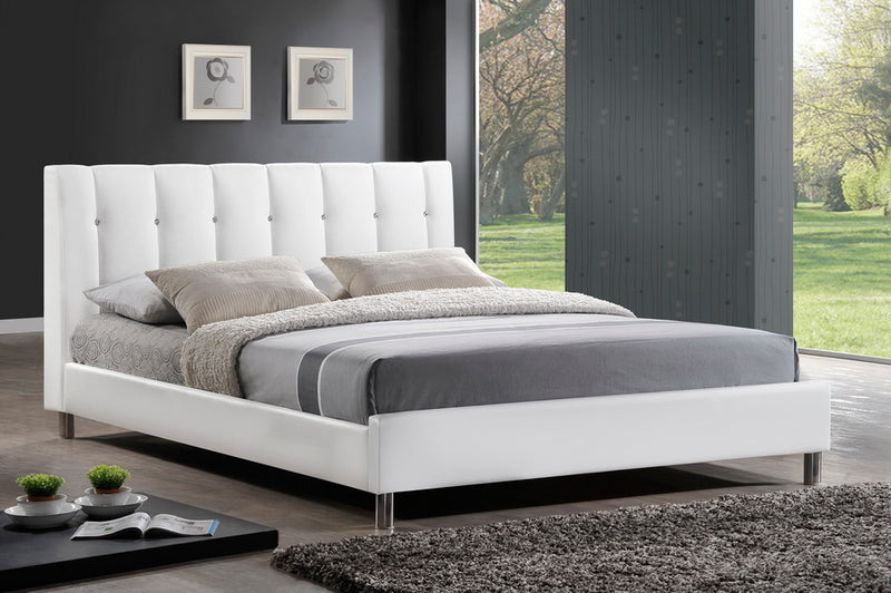 Contemporary Queen Size Bed in White Faux Leather - The Furniture Space.