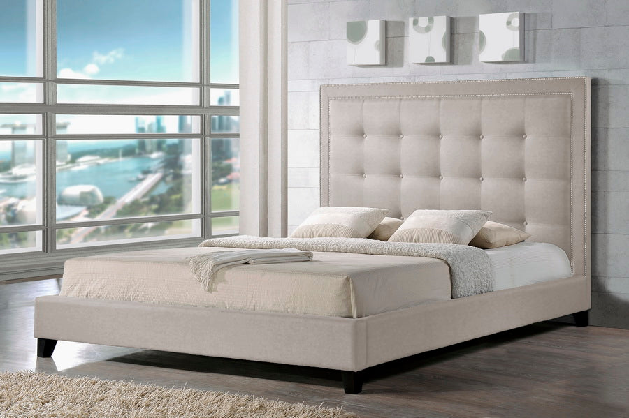 Contemporary Platform Queen Size Bed in Light Beige Linen Fabric - The Furniture Space.