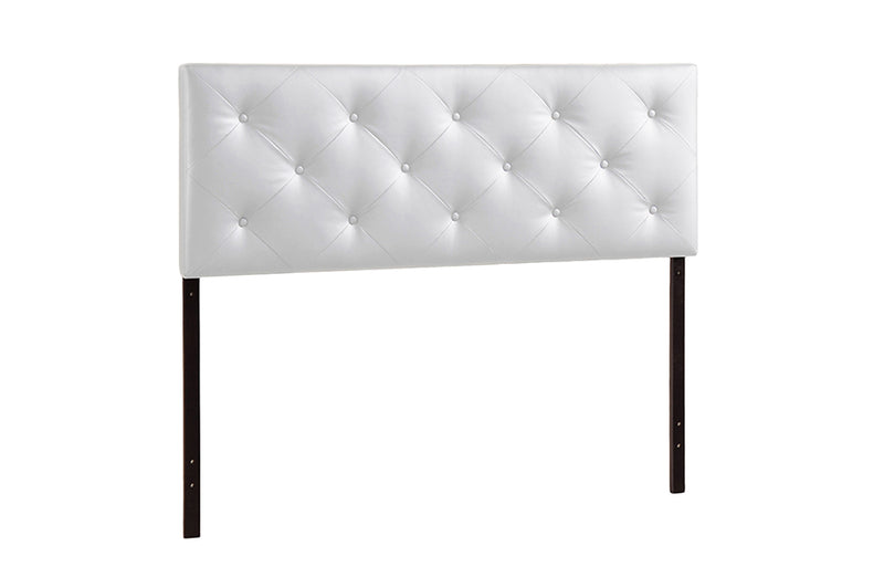 Contemporary King Size Headboard in White PU Leather
