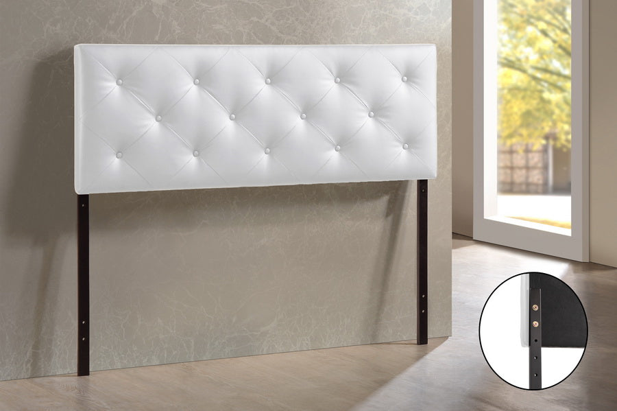 Contemporary Queen Size Headboard in White PU Leather - The Furniture Space.