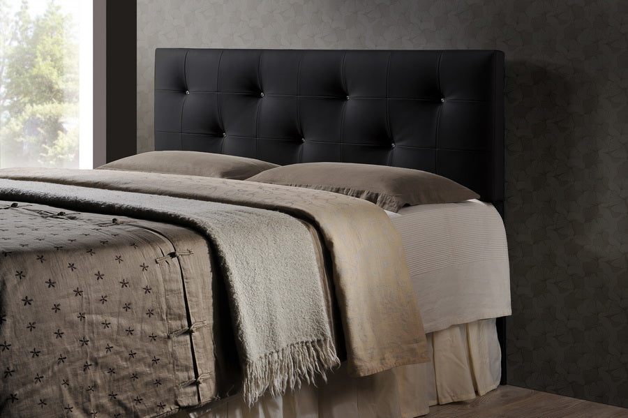 Contemporary Queen Size Headboard in Black PU Leather - The Furniture Space.