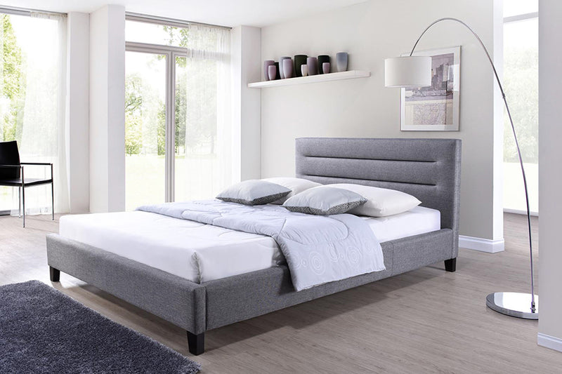 Contemporary Platform Full Size Bed in Grey Fabric - The Furniture Space.