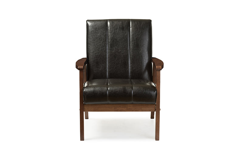 Mid-Century Modern Living Room Chair in Black Faux Leather