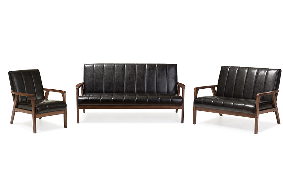 Mid-Century Modern Sofa, Loveseat & Accent Chair in Black Faux Leather