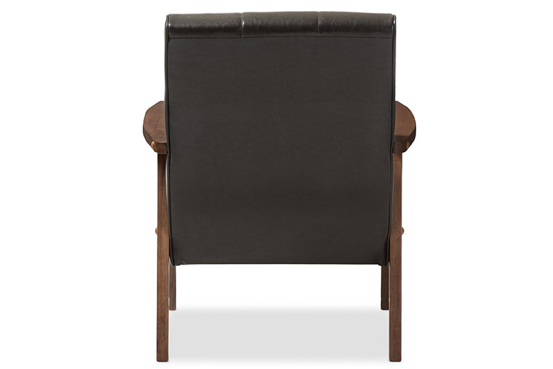 Scandinavian Accent Chair in Dark Brown Faux Leather