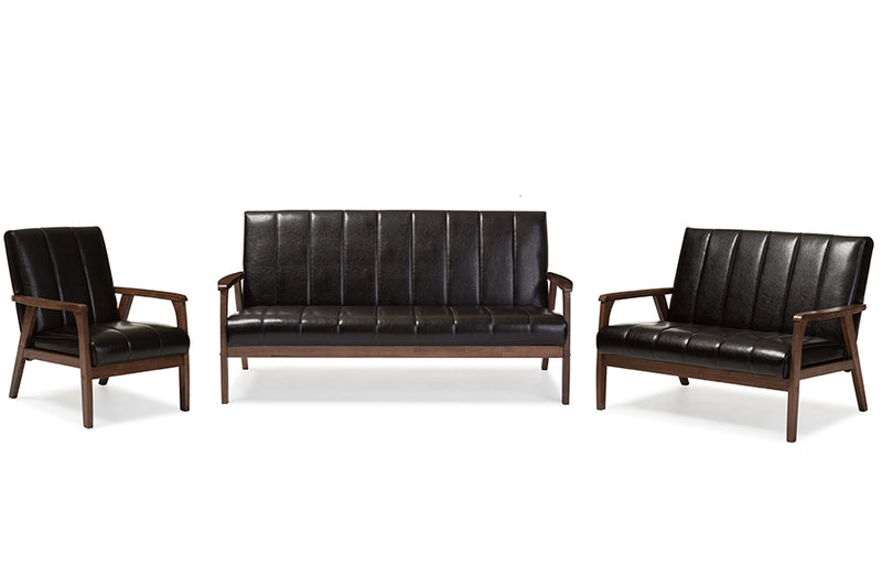 Mid-Century Modern Sofa, Loveseat & Accent Chair in Dark Brown Faux Leather