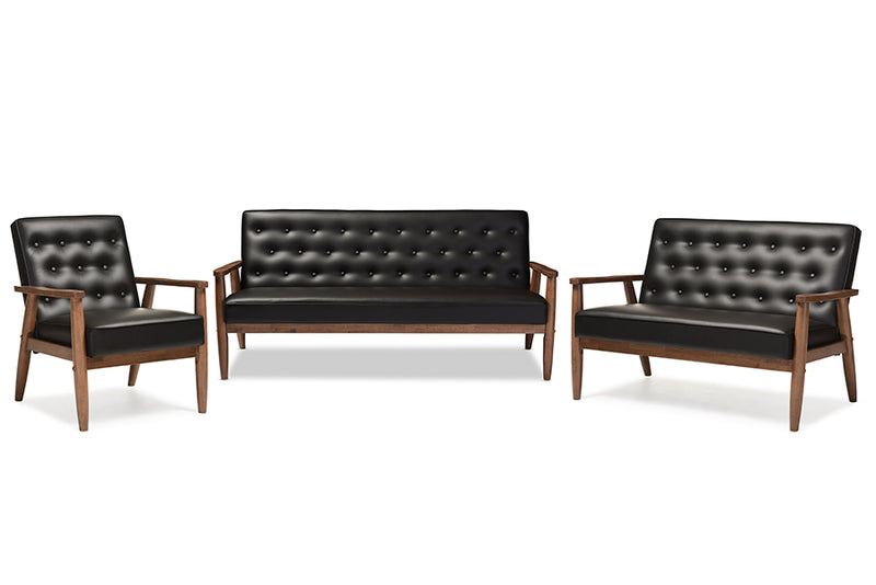 Mid-Century Modern Sofa, Loveseat & Living Room Chair in Black Faux Leather