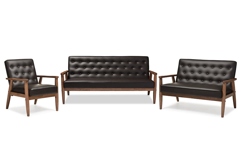 Mid-Century Modern Sofa, Loveseat & Living Room Chair in Dark Brown Faux Leather