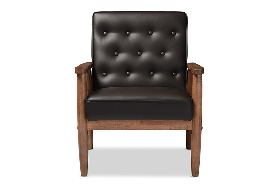 Mid-Century Modern Lounge Arm Chair in Dark Brown Faux Leather