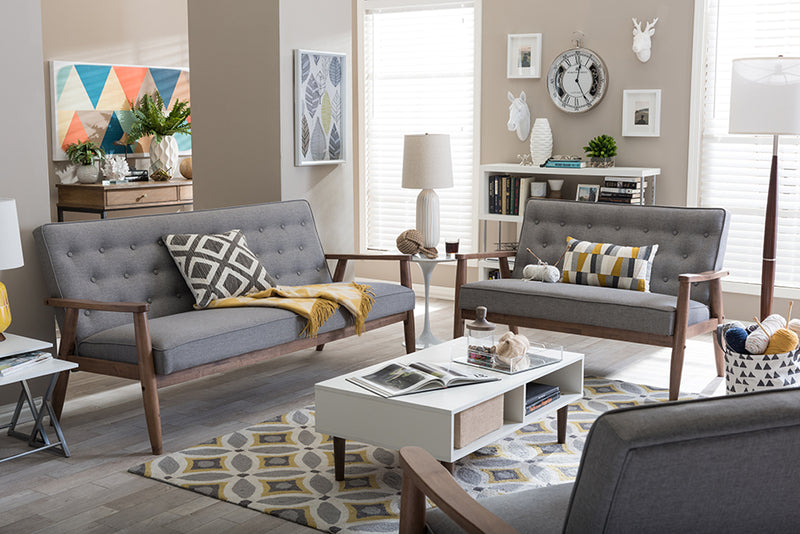 Mid-Century Sofa, Loveseat & Living Room Chair in Grey Fabric