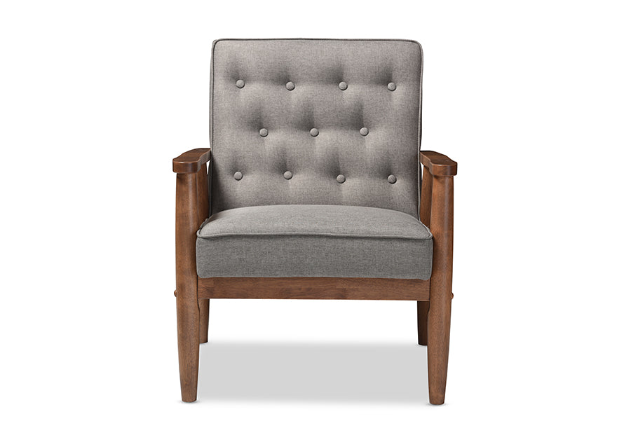 Mid-Century Living Room Chair in Grey Fabric