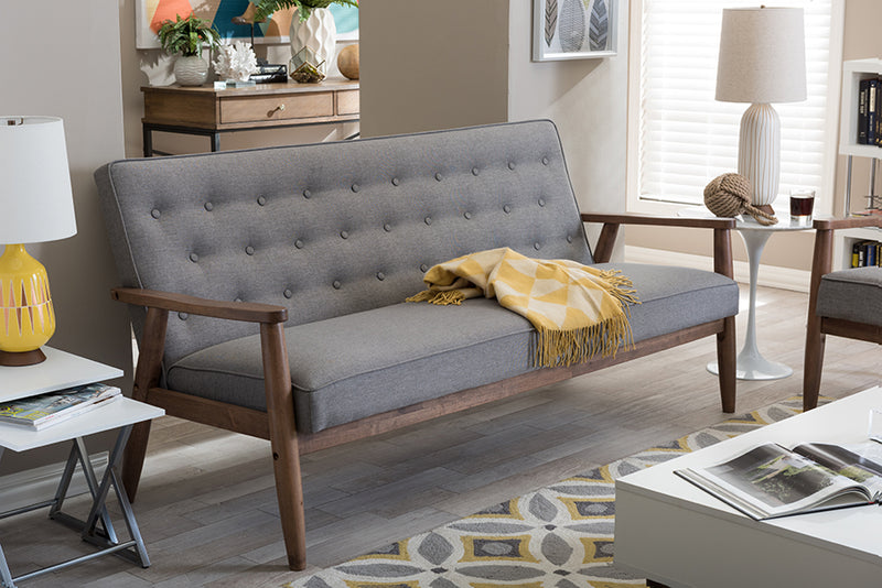 Mid-Century Sofa in Grey Fabric