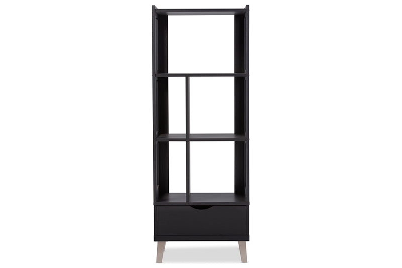 Contemporary Bookcase in Dark Brown - The Furniture Space.