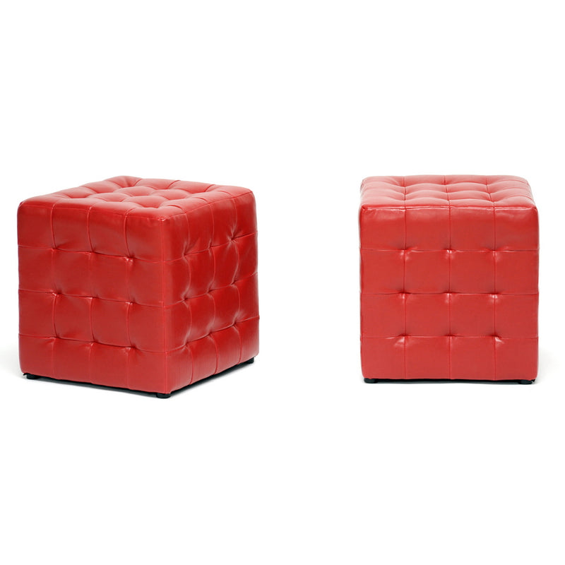 2 Ottomans Cube in Red Faux Leather - The Furniture Space.