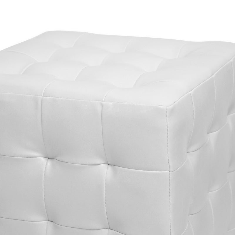 2 Ottomans Cube in White Faux Leather - The Furniture Space.