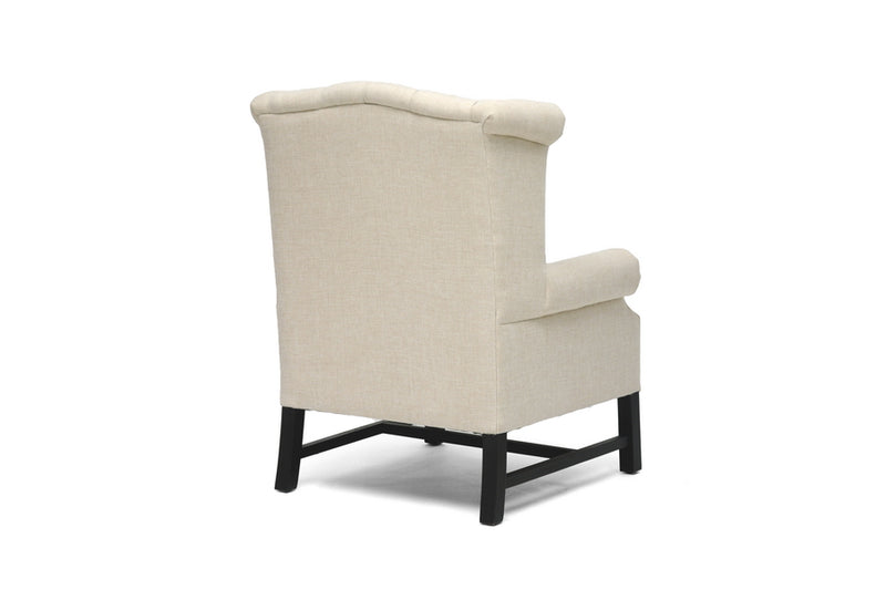 Traditional Club Chair in Beige Linen Fabric