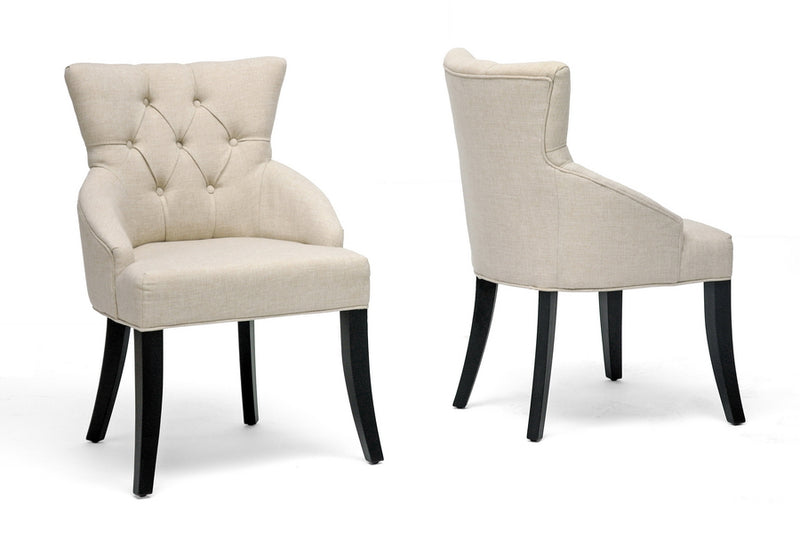 Contemporary 2 Dining Chairs in Beige Linen Fabric - The Furniture Space.