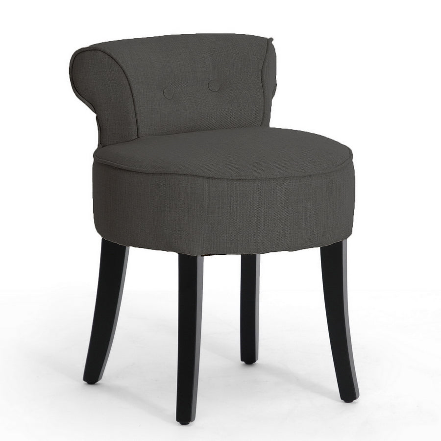 Traditional Lounge Stool Chair in Grey Linen Fabric
