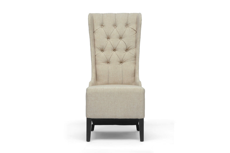 Traditional Accent Chair in Beige Linen Fabric