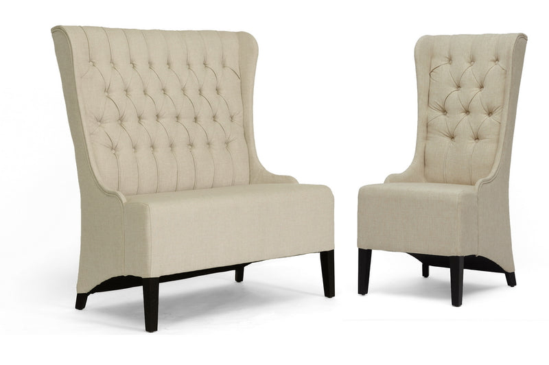 Traditional Loveseat & Accent Chair in Beige Linen Fabric