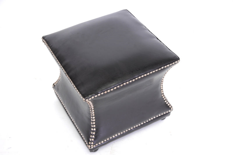 Modern Ottoman in Dark Brown Bonded Leather