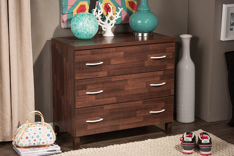 Contemporary 3 Drawer Storage Chest in Brown - The Furniture Space.