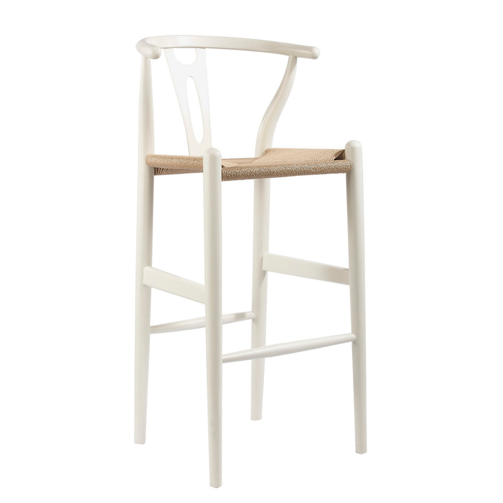 Mid-Century Bar Stool in White Solid Wood & Hemp
