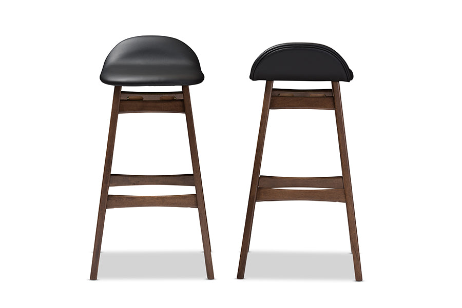 "Mid-Century Modern 2 30"" Bar Stools in Black Faux Leather"