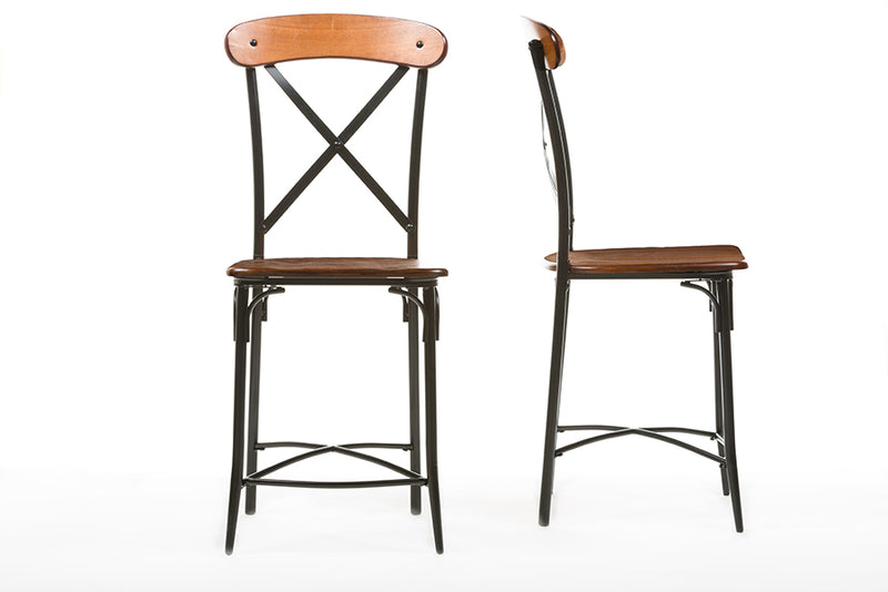 Vintage Industrial Metal 2 Bar Stools in Brown