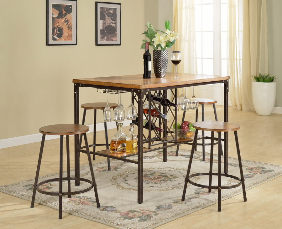 Outdoor Furniture Vintage industrial Pub Table & 4 Bar Stools in Black/Brown