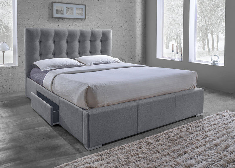 Contemporary Storage King Size Bed in Grey Fabric