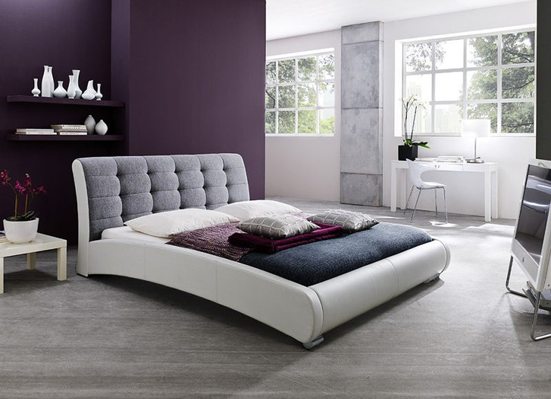 Contemporary 2 Tone Platform King Size Bed in White/Grey Faux Leather - The Furniture Space.