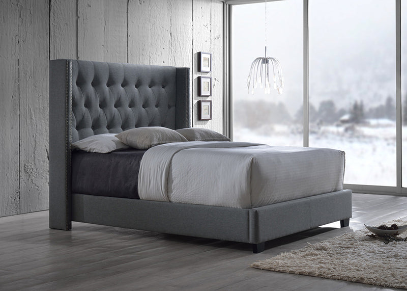 Contemporary Nail Trim Wingback King Size Bed in Grey Fabric - The Furniture Space.