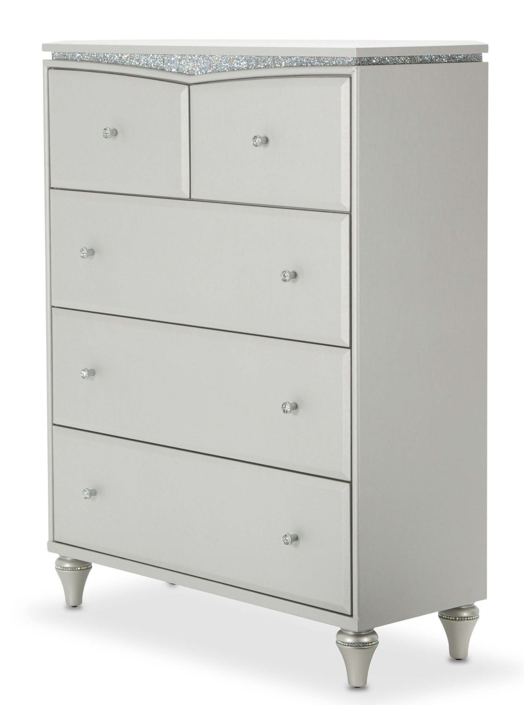 Aico Amini Melrose Plaza Upholstered 5 Drawer Chest in Dove Grey - The Furniture Space.