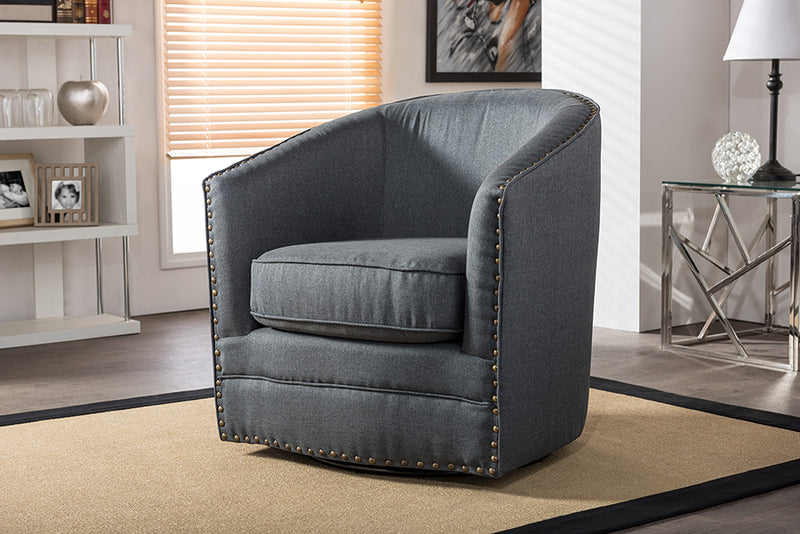Classic Retro Swivel Tub Chair in Grey Fabric - The Furniture Space.